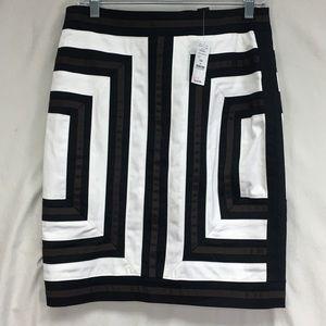 NWT WHBM Geometric Square Pattern Pencil Skirt